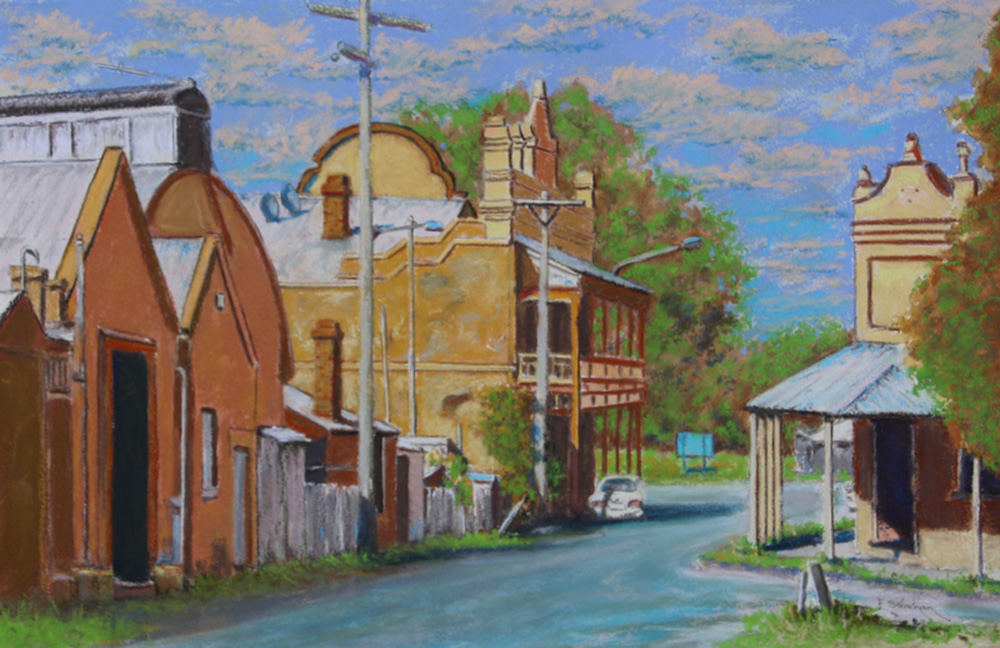 BACK STREET-GRENFELL NSW - framed - COLOURFIX - Art Spectrum soft pastels