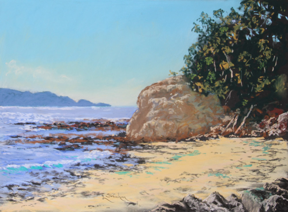 CASEYS BEACH-SOUTH - framed - COLOURFIX - Art Spectrum Soft Pastels