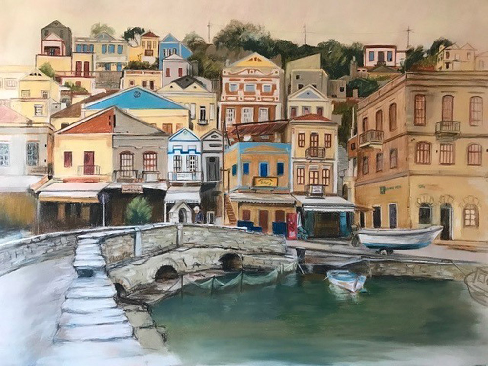 The Old Bridge Symi Greece - 75cm  x 55cm