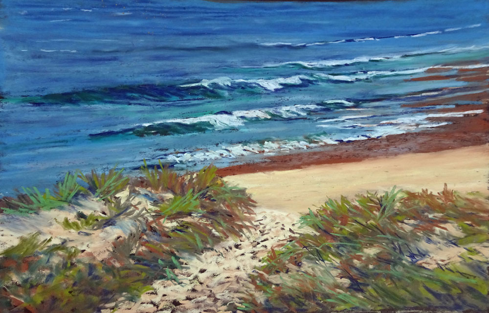 Broulee Beach - 41cmx31cm - Art Spectrum colourfix board and Art Spectrum and Schimke Pastels