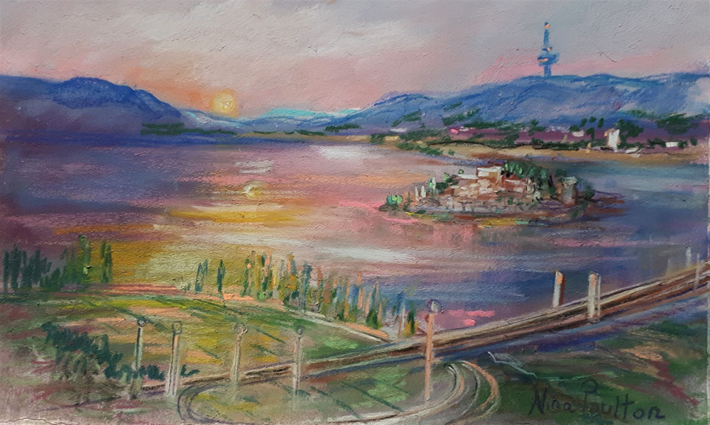 Canberra South Lake Burley - 32 x 21cm - Pastel