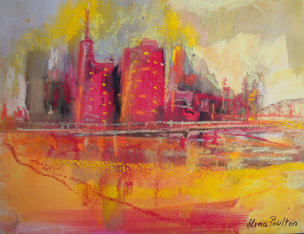 City Scape - pastel on canvas -19 x 21cm